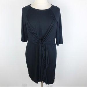 Boohoo Black Knotted Jersey Tee Shirt Dress 20
